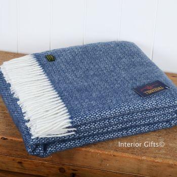 Tweedmill Slate Blue Ascot Pure New Wool Throw Blanket