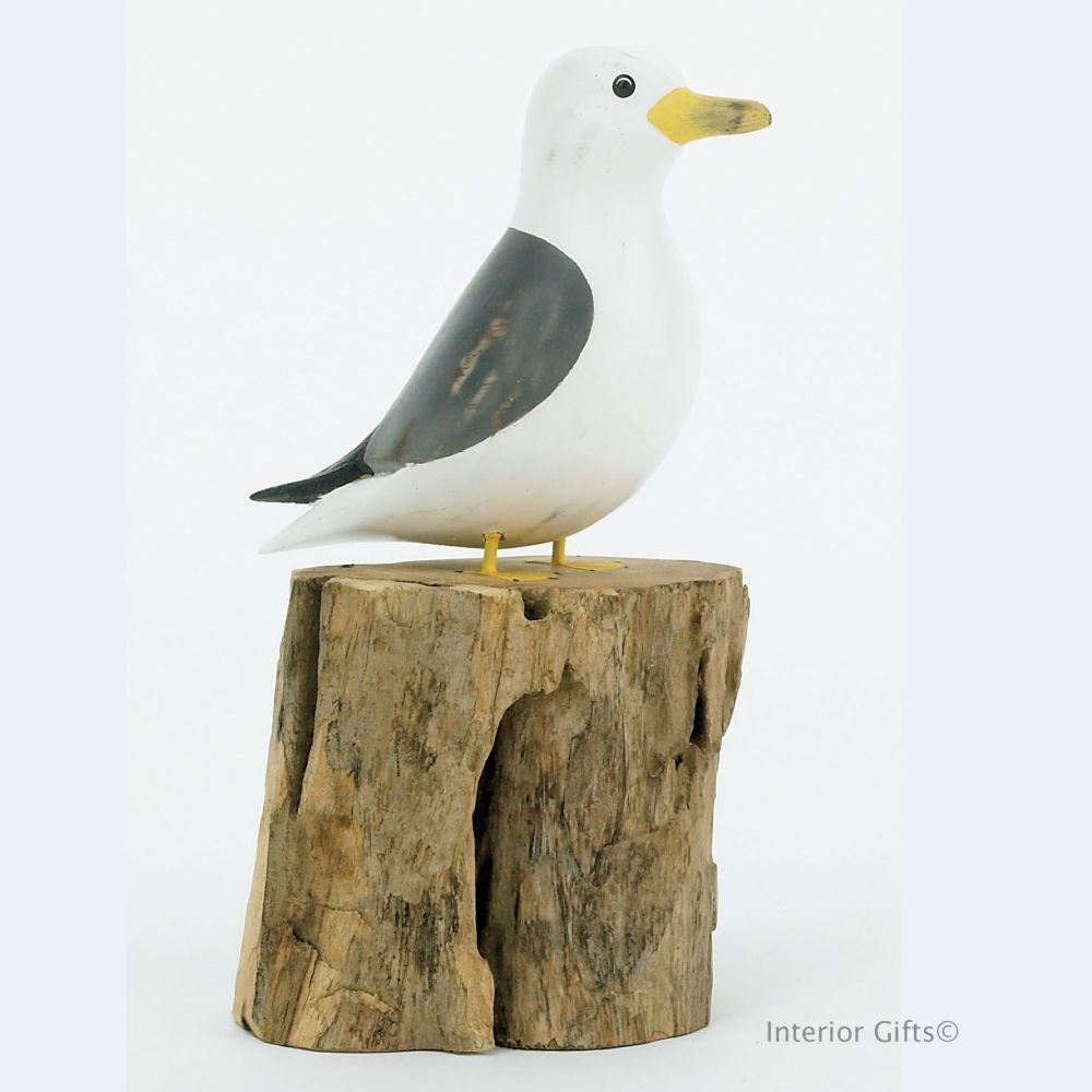 Archipelago Small Seagull on Tree Stump - Bird Wood Carving