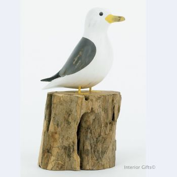 Archipelago Seagull on Tree Stump - Small Common Gull Bird Wood Carving