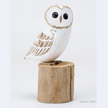 Archipelago Baby Barn Owl Bird Wood Carving