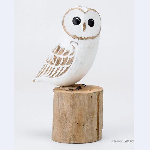 Archipelago Baby Barn Owl Bird Wood Carving