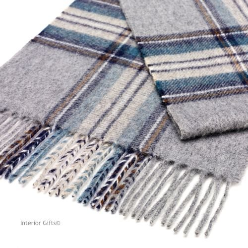 Bronte by Moon Dales Scarf in Silver Classic Check Pure New Wool