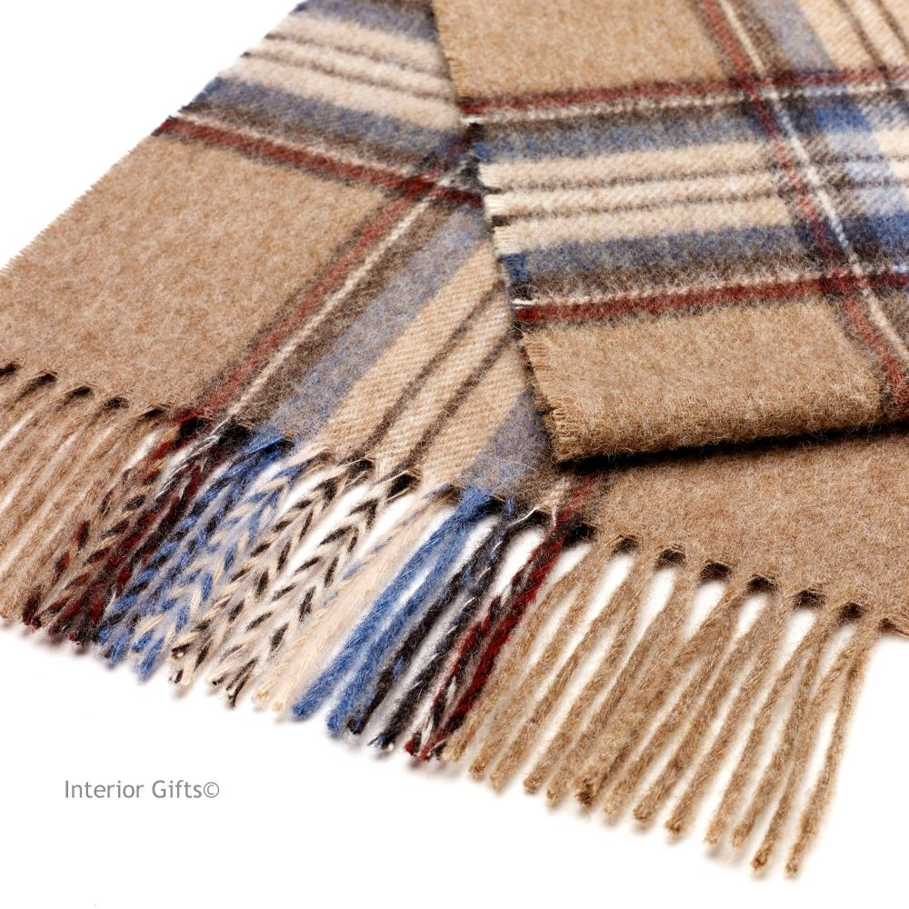 Bronte by Moon Dales Scarf in Beige Camel Classic Check Pure New Wool