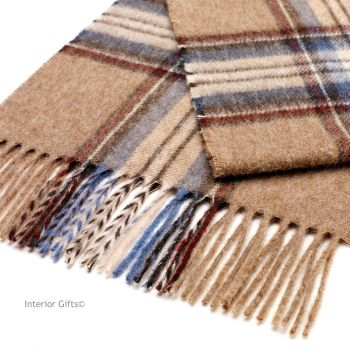 Bronte Luxury Dales Scarf in Beige Camel Classic Check Soft Merino Lambswool