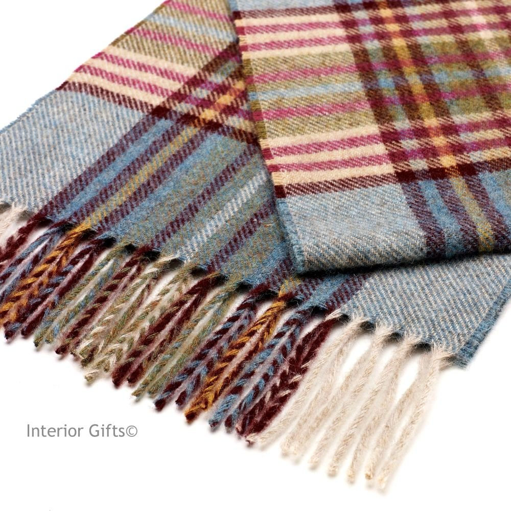 Bronte by Moon Dales Scarf in Duck Egg Multi Check Pure New Wool