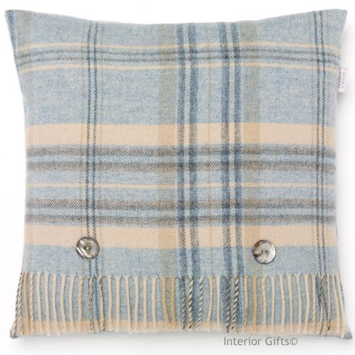 BRONTE by Moon Heather Check Aqua Blue Merino Lambswool Cushion