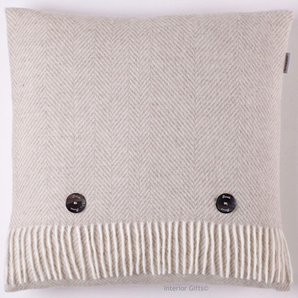 BRONTE by Moon Beige Herringbone Merino Lambswool Cushion