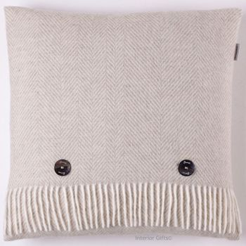 BRONTE by Moon Cushion - Herringbone Beige Merino Lambswool