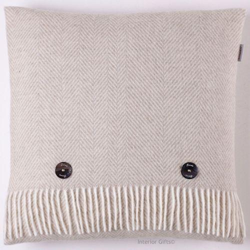 BRONTE by Moon Beige Herringbone Merino Lambswool Cushion