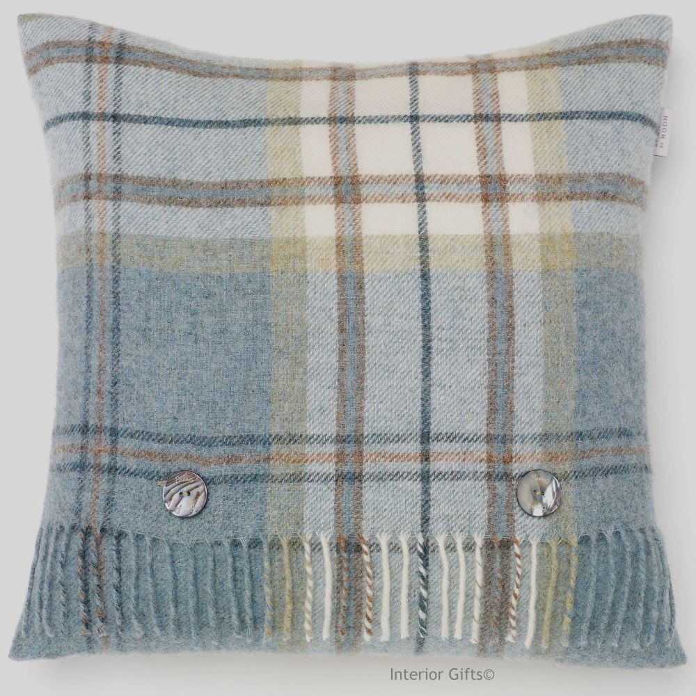 BRONTE by Moon Aysgarth Aqua Blue Check Shetland Wool Cushion