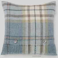 BRONTE by Moon Cushion - Aysgarth Aqua Blue Check Shetland Wool