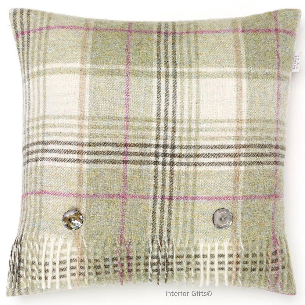 BRONTE by Moon Huntingtower Fern Green Check Shetland Wool Cushion
