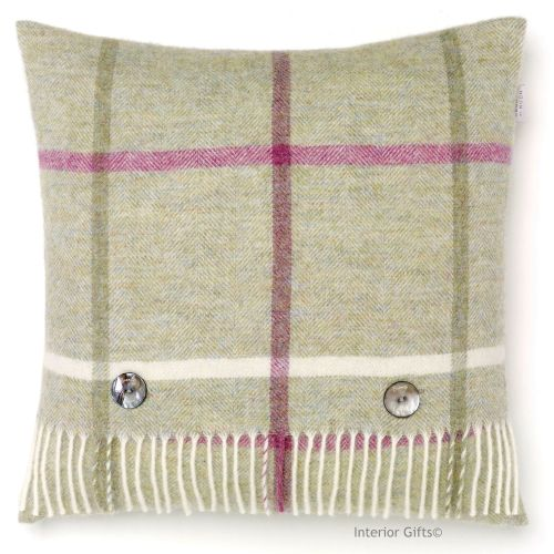 BRONTE by Moon Windowpane Fern Green Check Shetland Wool Cushion