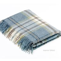BRONTE by Moon Aysgarth Aqua Blue Throw Pure New Shetland Wool