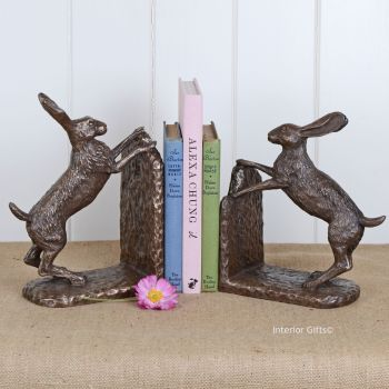 Beautiful Pair of Hare Bookends in Bronze
