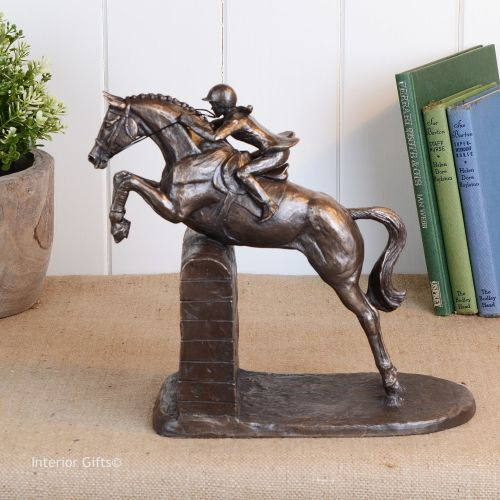 Bronze Sculpture of Plaited Competition Horse Jumping Wall - Lady Rider