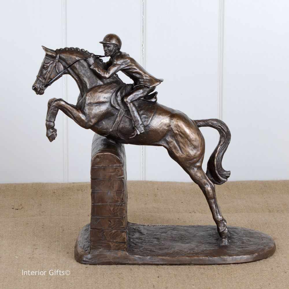 Bronze Sculpture of Plaited Competition Horse Jumping Wall - Male Rider