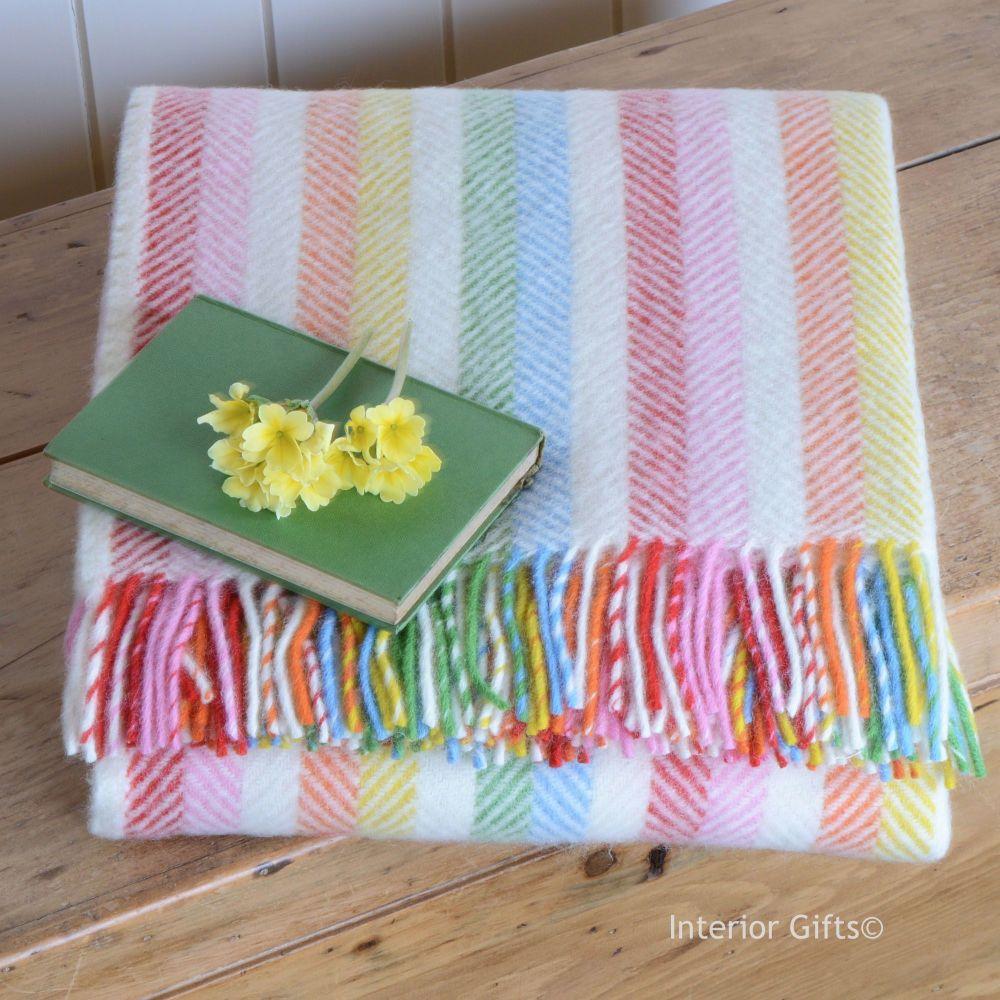 Tweedmill Rainbow Stripe Pure New Wool Throw