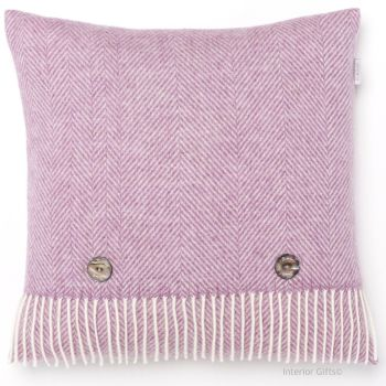 BRONTE by Moon Cushion - Herringbone Lilac Pink Merino Lambswool