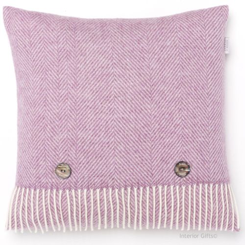 BRONTE by Moon Lilac Pink Herringbone Merino Lambswool Cushion