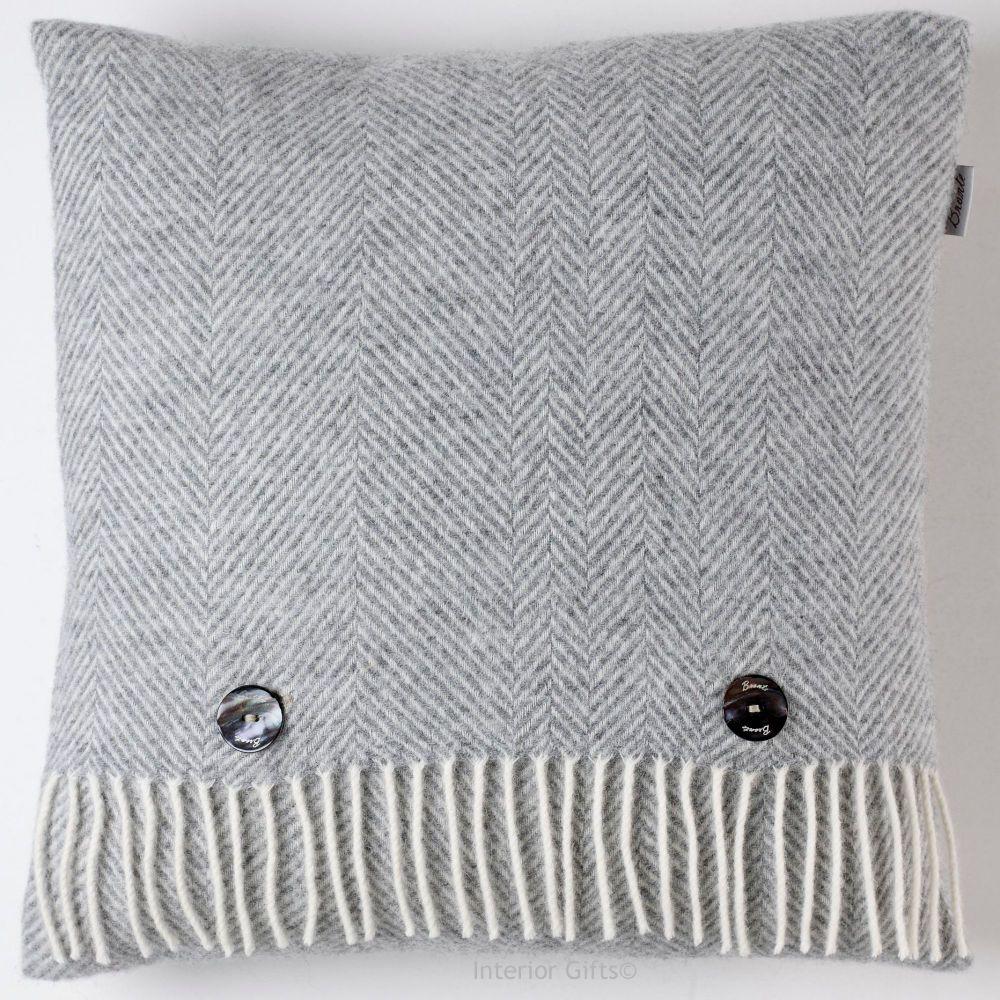 BRONTE by Moon Cushion - Herringbone Silver Grey Merino Lambswool