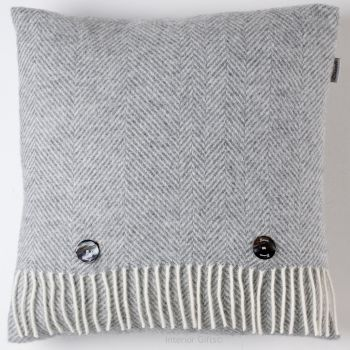 BRONTE by Moon Cushion - Herringbone Silver Grey Merino Lambswool