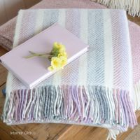 Tweedmill Herringbone Stripe Pastel Lilac Pure New Wool Throw Blanket
