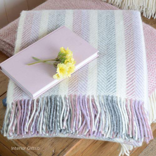 Tweedmill Multi Pastel Herringbone Stripe Pure New Wool Throw