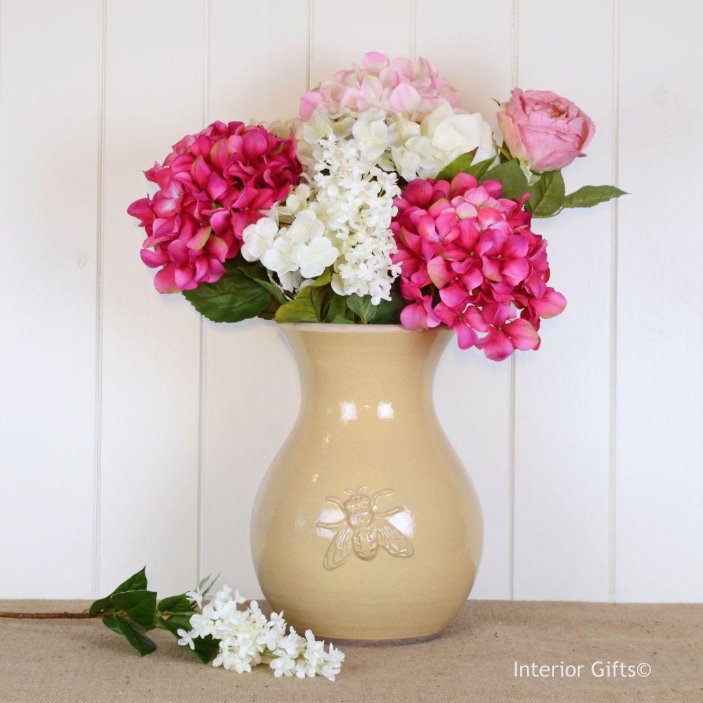 Bee Embossed Handmade Shaped Vase in Honey - Large