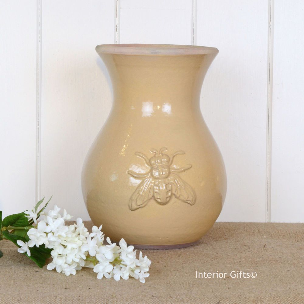 Bee Embossed Handmade Shaped Vase in Neutral Honey - Small