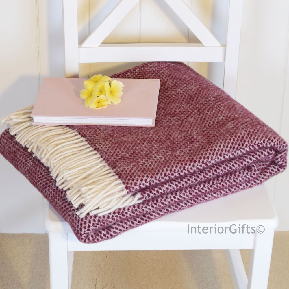 fc949e7a00 Tweedmill Berry and Cream Honeycomb Weave Pure New Wool Throw Blanket