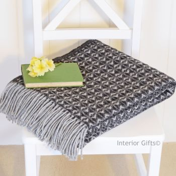 Tweedmill Charcoal & Grey Throw Blanket Pure New Wool