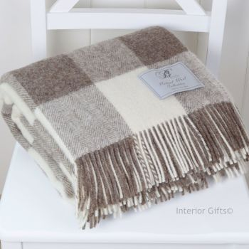 BRONTE by Moon Natural Collection Classic Beige Square Check Throw in Shetland Pure New Wool