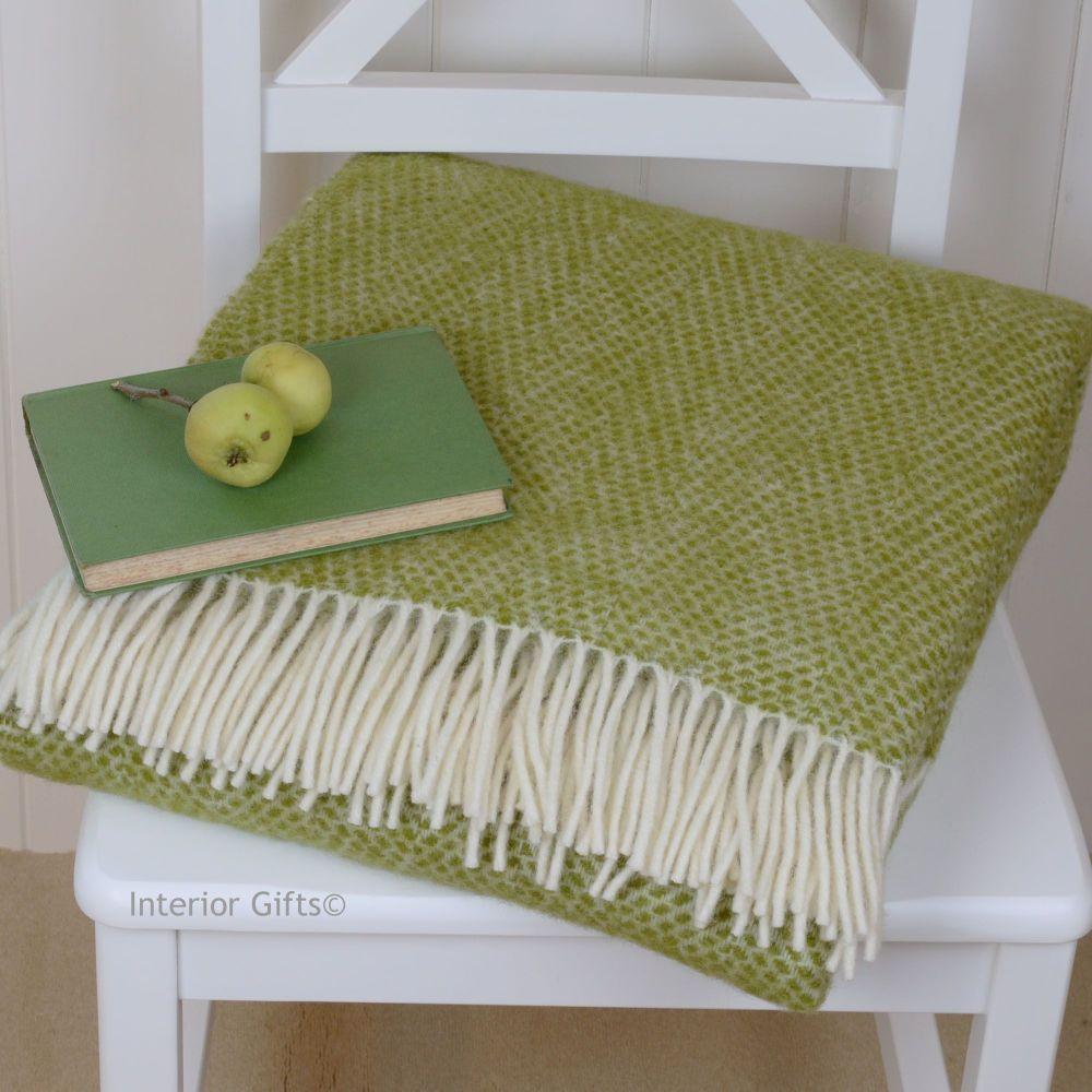 Tweedmill Fresh Apple Green and Cream Honeycomb Weave Pure New Wool Throw