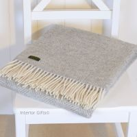 Tweedmill Silver Grey Herringbone Knee Rug or Small Blanket Throw Pure New Wool