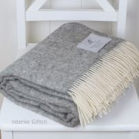 BRONTE by Moon Natural Collection Soft Grey Herringbone Throw in 100% Pure New Wool -