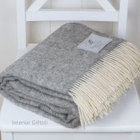 BRONTE by Moon Natural Collection Soft Grey Herringbone Throw in 100% Pure New Wool