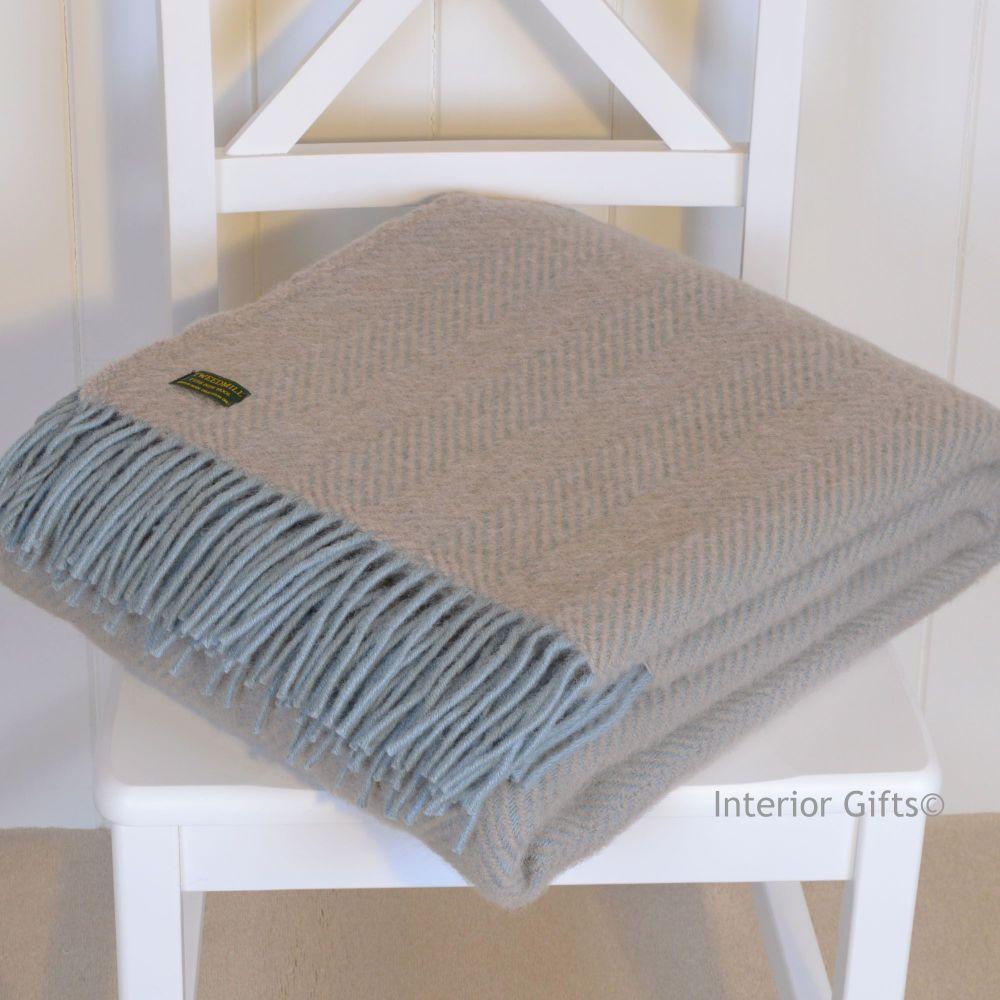 Tweedmill Duck Egg Blue & Beige Herringbone Pure New Wool Throw