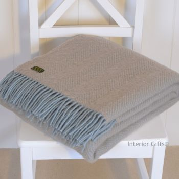 Tweedmill Duck Egg Blue & Beige Herringbone Pure New Wool Throw Blanket