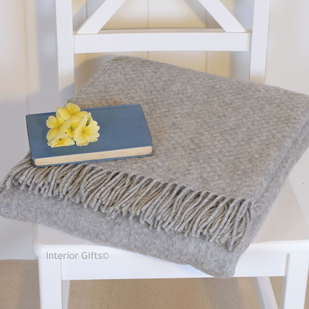 Tweedmill Pure Soft Grey Basketweave Throw in Pure New Wool