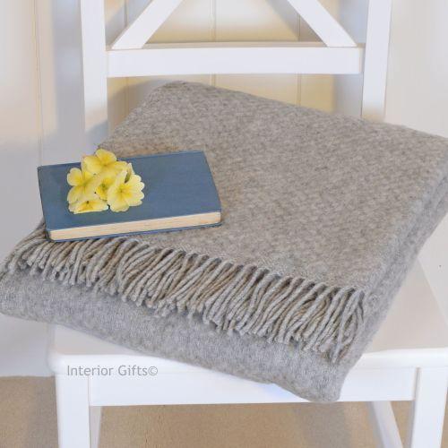 Tweedmill Pure Soft Grey Basketweave Throw in Pure New Wool