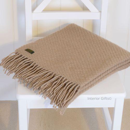 Tweedmill Beige Camel Basketweave Pure New Wool Knee Rug or Small Throw