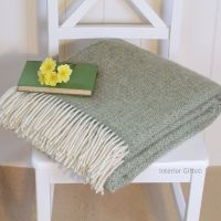 Tweedmill Subtle Green Ascot Fern Pure New Wool Throw Blanket