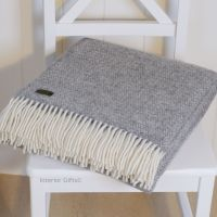 Tweedmill Soft Grey Ascot Pure New Wool Throw Blanket