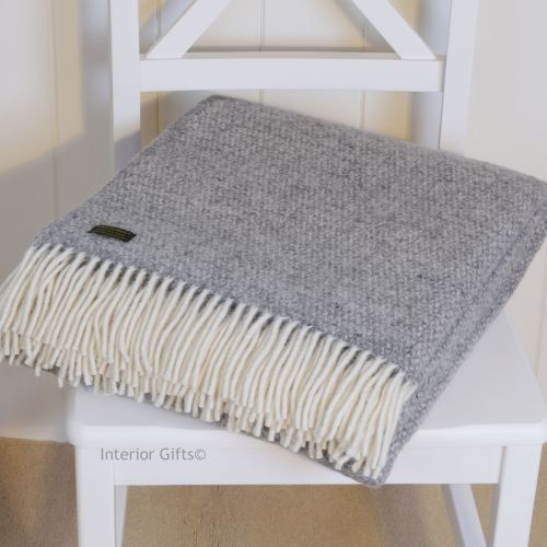 Tweedmill Soft Grey Ascot Pure New Wool Throw