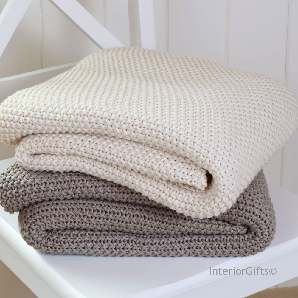 100% Cotton Knitted Throw in Ivory Cream