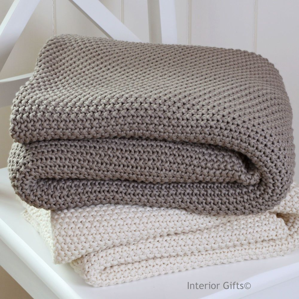 100% Cotton Knitted Throw in Mocha Brown