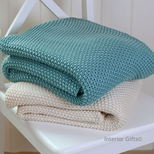 100% Cotton Knitted Throw in Light Sea Blue