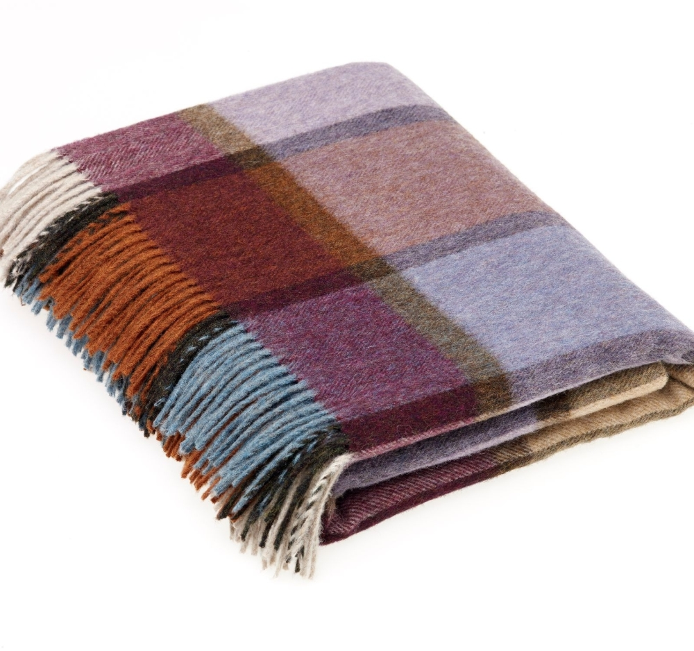 BRONTE by Moon Country House Check Damson Throw in supersoft Merino Lambswo