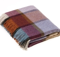 BRONTE by Moon Country House Check Damson Throw in supersoft Merino Lambswool